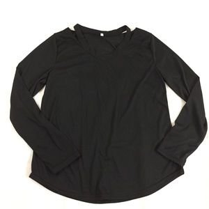 Women's XL Solid Black Cutout Knit Top